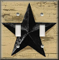 Metal Light Switch Plate Cover - Black Barn Star Primitive Decor Farmhouse Decor