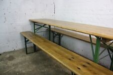 VINTAGE INDUSTRIAL GERMAN BEER TABLE BENCH SET SANDED AND WAXED GARDEN FURNITURE
