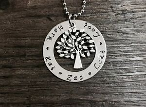 Tree of life hand stamped stainless steel washer necklace +free oshie woolworths