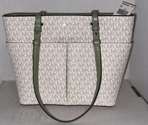 Michael Kors Bedford Signature Light Sage MD Top Zip Pocket Tote Shoulder Bag