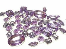 50 Stk. ASSTD LILA ZUM AUFNÄHEN Acryl Silber Set Kristallen Diamant MONTEES