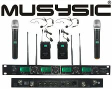 MUSYSIC 4 Channel UHF Wireless Microphone System 2 Handheld & 2 Lapel / Headset