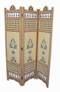 Moroccan Room divider privacy folding Screen Room Separator Handpainted Beige