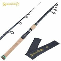Telescopic Lure Rod Carbon Fiber Cork Wood Handle Spinning Reel Tackle Pole