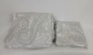 Crate & Barrel King Duvet Cover 2 Shams Cotton Mariella Made Italy Grey Paisley