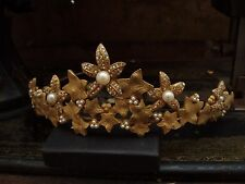 Vintage Style Antique Matt Gold AB Crystal, Ivy Leaf and Pearl Tiara