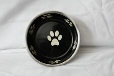 Small Metal Dog Bowl Water / Food 5 Inch Dish Black & White Paw Design Too Cute!
