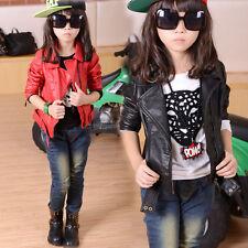 Girls Kids EuropeanAmerican Style Soft Faux leather PU Jacket Christmas 4-13Yrs