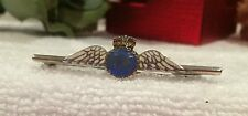 VINTAGE STERLING SILVER-RAF SWEETHEART BROOCH-ENAMELLED-WHITE WINGS+BLUE & RED