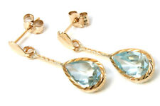 9ct Gold Blue Topaz Teardrop D/C short drop earrings Gift Boxed Made in UK
