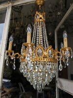 Antique Vnt Gigantic 6 arms & Basket  Crystal Chandelier Lamp Light 1940's RaRe