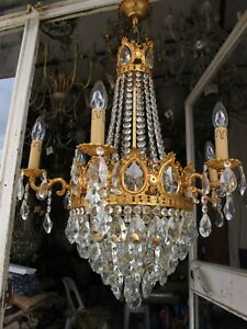 Antique Vnt Gigantic 6 arms & Basket  Crystal Chandelier Lamp Light 1940's RaRe