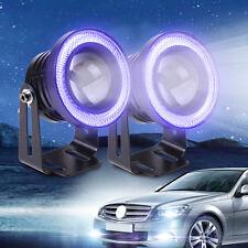 "10W White LED Projector Fog Lens Driving Light w/Blue Angel Eye Halo Ring 2.5"""