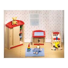 Goki Puppenhausmöbel Kinderzimmer 12-teilig Puppenmöbel Möbel Puppenhaus Holz