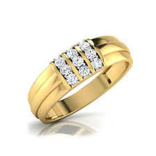 0.36 Ct Diamond Engagement Mens Band 14K Solid Hallmarked Yellow Gold Size R S O