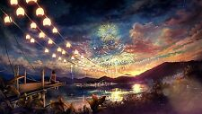 Wooden Jigsaw Puzzle Beach Fireworks Ocean Nature Anime Scenery 1000-Pieces