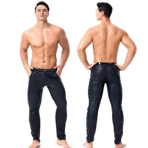 Sexy Men Stretch Spandex PU leather Trousers Fetish PUNK Clubwear Costumes pants