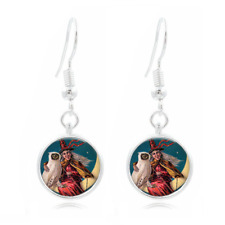 Owl and Witch glass Frea Earrings Art Photo Tibet silver Earring Jewelry #204