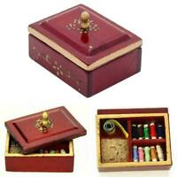Vintage 1/12 Scale Sewing Box With Accessories Dolls Sewin New Miniature Ho Y1O2