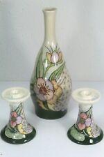 Gewi Jugendstil Candle Holders & Bottle/Vase, Hand Painted From Holland. Signed.