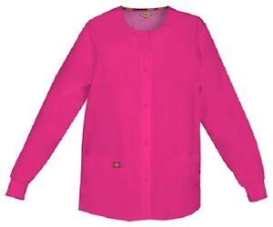 Scrubs Dickies Snap Front Warm-Up Jacket 86306 HPKZ Hot Pink Free Shipping