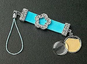 Photo Dangle Cell Phone Charm Blue Leather Crystal Flower Slider Silver Plated