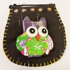 Thai Handmade Owl Patchwork Crossbody Bag Embroidered Cotton Fabric Unique
