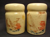 Vintage Florida Sailboat Sunset Ceramic Salt and Pepper Shakers