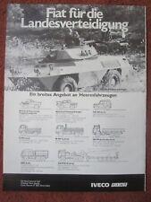 9/1982 PUB FIAT IVECO VEHICULE BLINDE RECONNAISSANCE 4X4 FIAT 6616 GERMAN AD