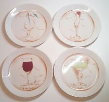 Set of 4 LIBBEY WORLD DESSERT PLATES WITH DRINK DIAGRAMS