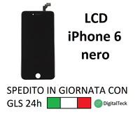 TOUCH SCREEN LCD DISPLAY RETINA PER APPLE IPHONE 6 NERO SCHERMO CON FRAME
