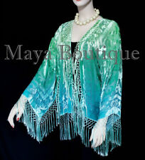 Wearable Art Velvet Kimono Jacket Hand Dyed Jade Turquoise Short Maya Matazaro
