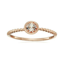 10k Rose Gold Morganite Round Solitaire Beaded Shank Stackable Ring, Size 7