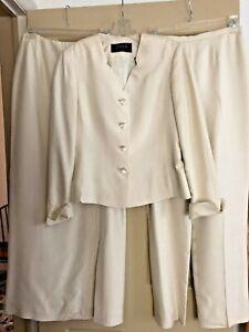 Dana Buchman 3 Piece Ivory Cream Silk Suit Jacket, Long Skirt & Pants Sz 6