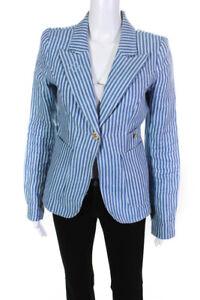 Smythe Womens Linen Striped Single Button Blazer Blue Size 4