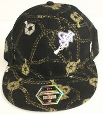 NEW SOUTHPOLE FITTED BLACK & METALLIC GOLD SILVER CHAINS HAT CAP SIZE 7 3/4 NWT