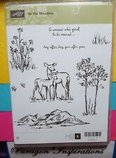 NEW Stampin Up IN THE MEADOW Deer Flowers Trees Grass Mountains Landscape