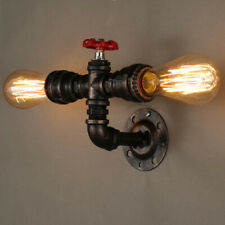 Rustic Steampunk Iron Water Pipe Shape Wall Lamp Retro Light Sconce Fixture