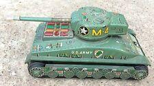Vintage TAIYO Mark M-4 US Armée Militaire War Tank Batterie Fonctionne Tin Jouet