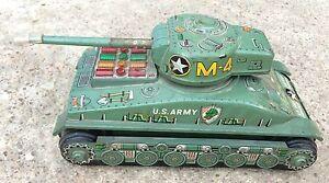 VINTAGE BATTERY OPERATED TAIYO MARK M-4 U.S ARMY MILITARY WAR TANK TIN TOY JAPAN