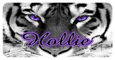 Personalized Monogrammed Custom License Plate Auto Car Tag Tiger Purple  Eyes