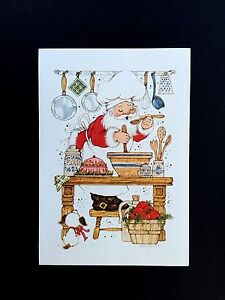 Vintage Unused Xmas Greeting Card Santa in Kitchen with Puppy Cooking up a Storm