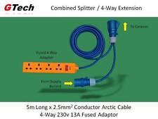 Caravan Hook-Up Splitter - Combined Splitter / 5m Extension to 13A 4-Way Adaptor