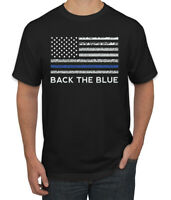 American Flag Back the Blue Support Mens Graphic T-Shirt