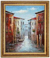 Ölbild Venedig, Kanal, Kanalboote, ÖLGEMÄLDE HANDGEMALT F:50x60cm