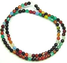 """15"""" Mixed COLORS Onyx FACETED Round ~100 Beads 4mm K3416"""