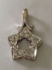 Diamond Star Pendant Necklace Charm 18k Solid Gold .90 carat VS Clarity
