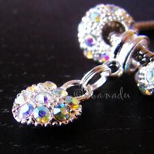Aurora Borealis AB Finish Heart Charm & Crystal Beads For European Bracelets