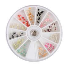 120pcs/Box Pearl Silver Nail Art Dangle Ring Rhinestone Bead Charm Drill Wheel