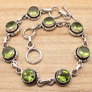 Exceptional Bracelet 7.6 Inch ! Genuine Green PERIDOT Silver Plated Jewelry